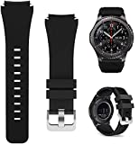Minggo Bands for Samsung Gear S3 Frontier/Classic Watch Silicone Bracelet Sports Silicone Band Strap Replacement Wristband, Black