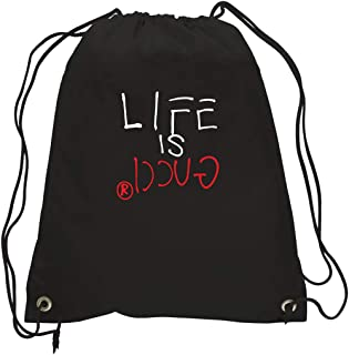 a72f80d10564 Kids Backpacks For School In Black Printed With Life Is Gucci Design