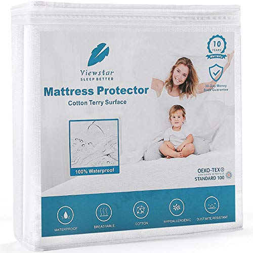 viewstar Mattress Protector, King Size Waterproof Mattress Cover with Cotton Terry Surface, Noiseless Machine Washable Protection Cover, Deep Fitted 150x200cm