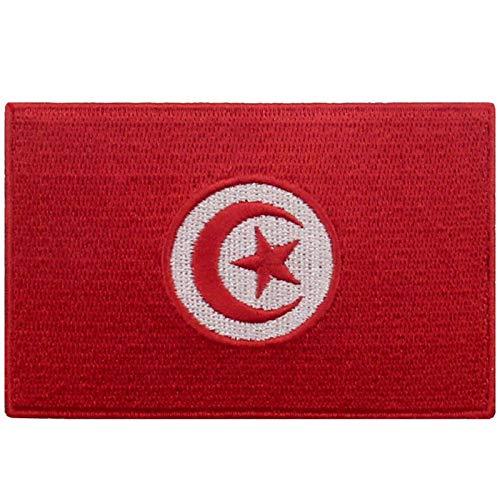 EmbTao Tunesien Flagge Bestickter Aufnäher zum Aufbügeln/Annähen