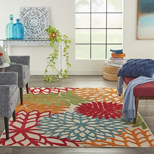 """Nourison Aloha ALH05 Indoor/Outdoor Floral Green 5'3"""" x 7'5"""" Area Rug (5'x8')"""