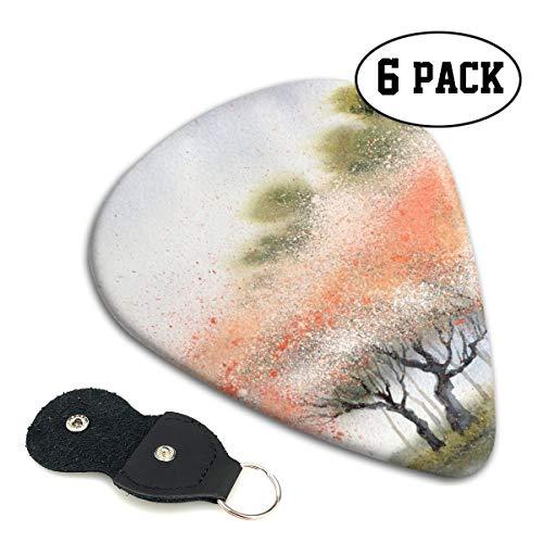 NOBRAND Gitaar Pick Aquarel Schilderij Bomen Milieuvriendelijk ABS materiaal, Verkrijgbaar in drie maten, Geschikt voor Gitaar, Ukulele, Etc, Inclusief 6-delige Set