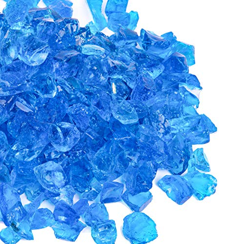 X Home 10LB Fire Pit Glass, 1/2 Inch Turquoise Blue Fire Glass for Propane Fire Pit and Gas Fireplace, Decorative Fire Pit Glass Pellets for Fire Table Outdoor Indoor, Garden, Yard, Landscape