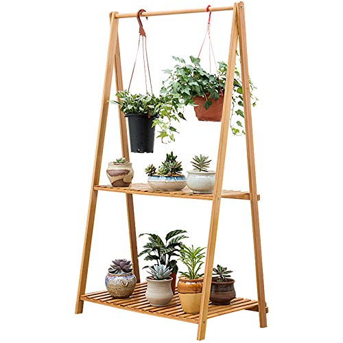 2 Tier Plant Stand Opknoping Rek Bamboe Plant, Ladder Opvouwbare Bloempotten Organizer Plant Display Plank, Tuin Planken Opbergrek 127 CM
