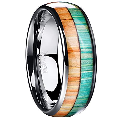 Vakki Ring Das gewölbte hochglanzpolierte Wolframcarbid-Verlobungsband für Herren von mit Orangem und Grünem Holzeinlage 65(20.7)