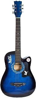 Dreadnought Cutaway Guitar, Blue basswood Folk Guitar Acoustic Guitar Beginner Tuner Kit