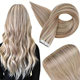 Fshine Tape Hair Extensions Real Human Hair 14 Inch Blonde Highlighted Human Tape In Hair Extensions Color 18 Ash Blonde Highlight 22 Blonde Glue On Remy Hair Extensions 20 Pcs 50 Grams