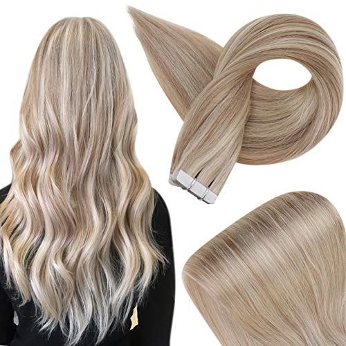 Fshine Hair Extensions Tape in Human Hair 18 Inch Highlight Color 18 Ash Blonde and 22 Light Blonde Remy Tape in Hair Extensions Brazilian Tape In Extensions 20 Pieces 50 Grams