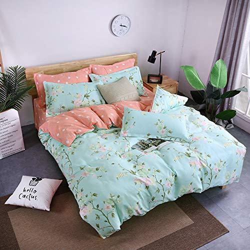 BH-JJSMGS Vierteilige Bettwäsche aus gebürsteter Baumwolle, bedruckter Bettbezug und Kissenbezug, Federdicke 200 * 230 cm