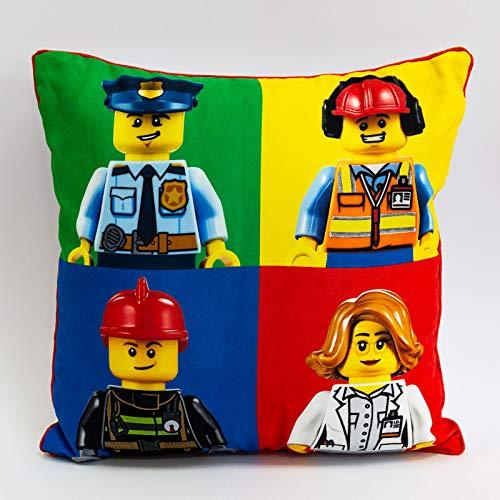 LEGO Cojín Cuadrado de la Ciudad, diseño de Bomberos de acción y policía, diseño Oficial Reversible de Dos Caras