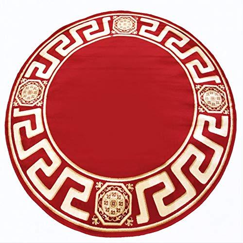 Belle Arti Premium Mäander Teppich Rund aus 100% Viskose im Meander Medusa Design Carpet versac 150x150 in Rot