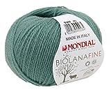 Biowolle Lane Mondial Bio Lana FINE Farbe 349 efeu, 50g reine Schurwolle zum Stricken, Babywolle Bio
