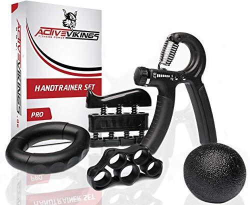 ActiveVikings® Handtrainer Fingertrainer Set - Ideales Hand Trainingsgerät für Ihren Unterarm und Finger - Perfekt für Fitness Krafttraining Crossfit Muskelaufbau