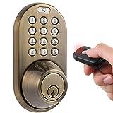 MiLocks QF-02AQ Keyless Entry Deadbolt Door Lock with Electronic Digital Keypad and RF Remote Control, Antique Brass