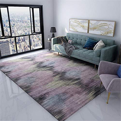 Xiaosua Anti-Allergie Tekening Kamers Tapijt Eenvoudige paarse gele abstracte inkt patroon multi-size woonkamer tapijt huisdecoratie antifouling Tapijten