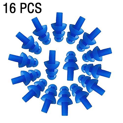 Wady 16 weiche Silikon-Ohrstöpsel für Schwimmer, flexible Ohrstöpsel zum Schwimmen, Ohrstöpsel reduzieren den Lärm beim Schlafen, aus weichem Silikon, um bequem zu sein. (blau).
