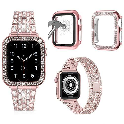 para iWatch Band 38 mm 40 mm 42 mm 44 mm para iWatch Series 6 5 4 3 2 1 Correa de Metal Brillante para Mujer con Funda de Pantalla de Cristal de Diamante, Rosa Rosa, 44 mm