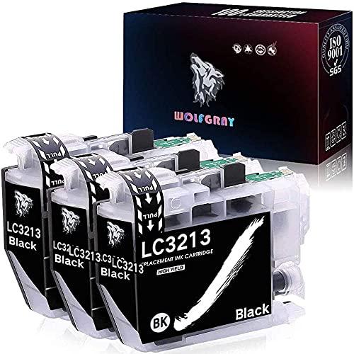 Wolfgray LC3211 LC3213 d'encre Compatible pour Brother LC3213 LC 3213 Cartouche d'encre pour Brother DCP-J572DW MFC-J491DW MFC-J497DW DCP-J772DW DCP-J774DW MFC-J890DW MFC-J895DW Imprimante (3 Noir)