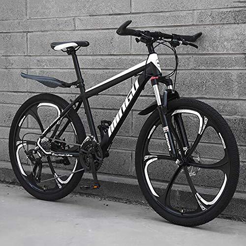 WLKQ Pieghevole Mountain Bike, MTB, Bici Biammortizzata, 26 velocità Doppia Sospensione Biciclette, Telaio in Acciaio ad Alto Tenore di Carbonio Mountainbike, Adulti Bike,Black 6 Spoke,30 Speed