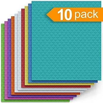 10-Pack Swedish Dishcloth Cellulose Sponge Cloths