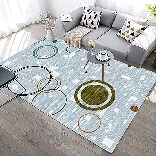 IRCATH Color geométrico patrón Circular Alfombra herméticamente Dormitorio Cama sofá Cama Sala de Estar alfombra-80x160cm Decoración del hogar para salón y Dormitorio