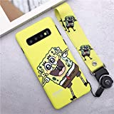 Rhine Spongebob Case, Cute Mr.Krabs Back Phone Cover for Samsung Galaxy S9 S8 S10 Plus Note 8 Note 9 Soft Cover+ Strap (T2, for Galaxy S10)