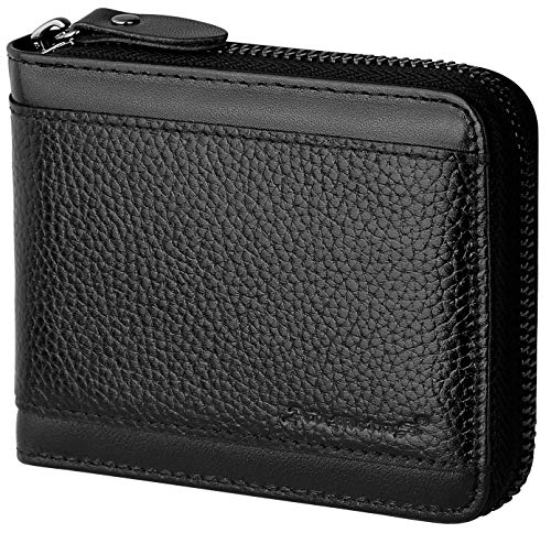 RFID Wallet for Men Leather Zip Wallet Bifold Card Holder Purse with Zipper Coin Pocket(Black-21)