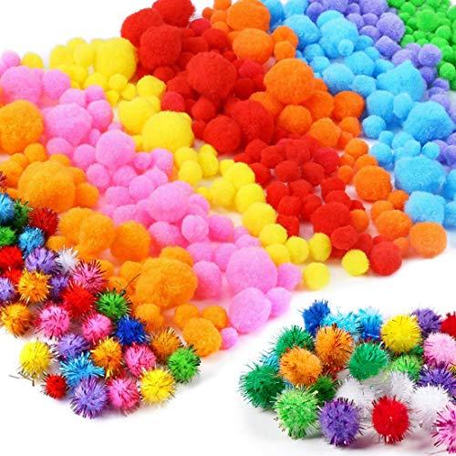 1000pcs Pompones, Pompones Manualidades, Colored Round Pompon bola fieltro, Pipe Cleaners Crafts Set, para Bricolaje de Artesanía y Material de Afición, 10/15/20/30mm, Colores Variados