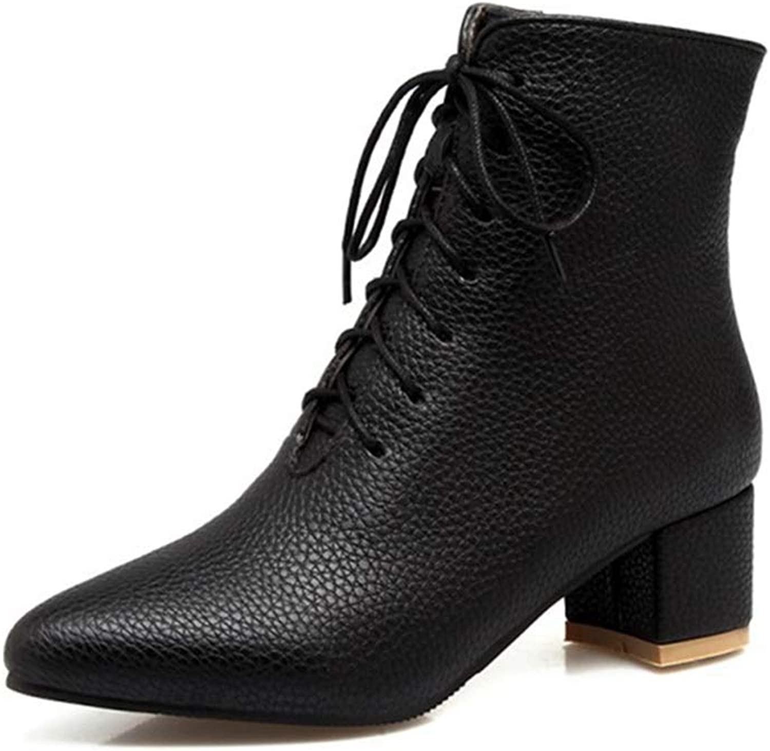 GIY Women's Pointed Toe Dressy Ankle Boots Lace Up Zipper Soft Leather Booties Block Low Heel Short Boots