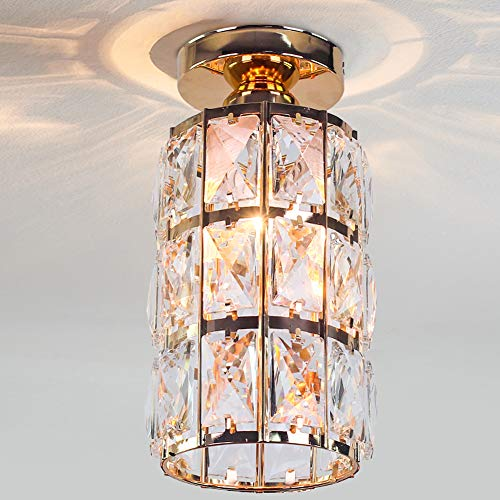 Cainjiazh Mini Crystal Chandelier Flush Mount Modern Decor E27 Bulb Base 4.7 Inch Diameter Round Gold Plated Lamp Ceiling Lights Fixture for Hall Closet Bedroom Living Room Kitchen Dining Room
