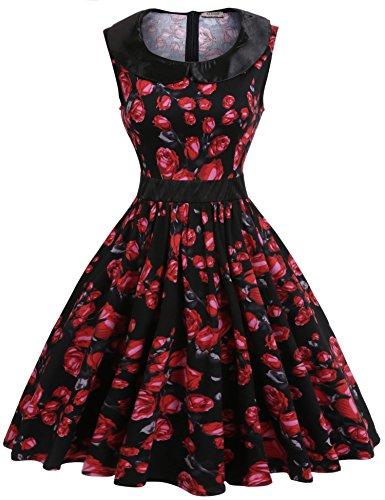 ACEVOG Women's Classy Audrey Hepburn 1950s Vintage Retro Rockabilly Floral Swing Dresses,Black,S (Apparel)