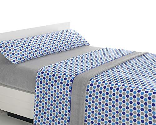 SABANALIA - Juego de sábanas de coralina Happy - Gris-Azul, Cama 90