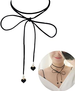 Aysekone Fashion New Classic Jewelry Black Heart Pendant and Chenille String Bow Collar Chokers Necklace for Women Girls