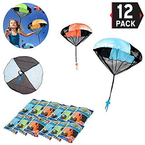 12 Pack - Tangle Free Throwing Toy Skydiver Parachute Man for Kids Bulk Party Favors - (4 Inches)