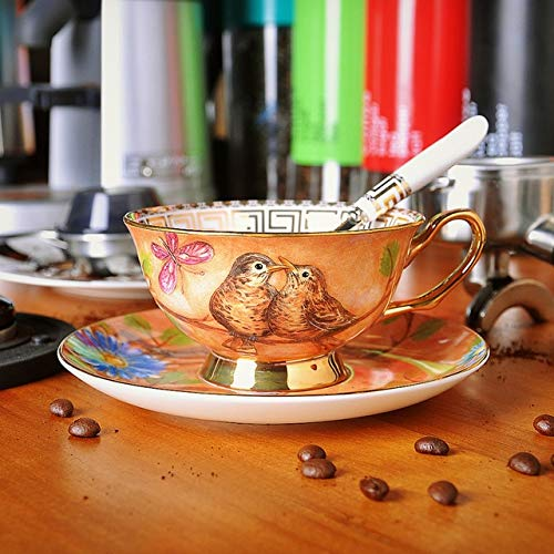 Zodensot Estilo europeo restauración de porcelana antigua taza de café platos trajes de cerámica británica Phnom Penh Tazas de té de la tarde tazas de café (220 ml, C)