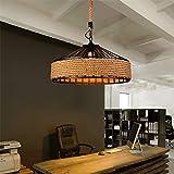 JINRU Retro Light Chandeliers, E27 Lamp Holder Hemp Rope Iron Pendant Lamp, Maximum 60W Height Adjustable Ceiling Lamp, Suitable for Living Room, Kitchen, Bedroom,Ø40cm