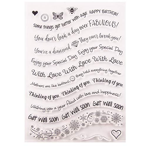 Greetings Geburtstags-Stempel, Gummi, transparent, Scrapbook/Fotoalbum, dekorative Karten, zum Basteln von Karten