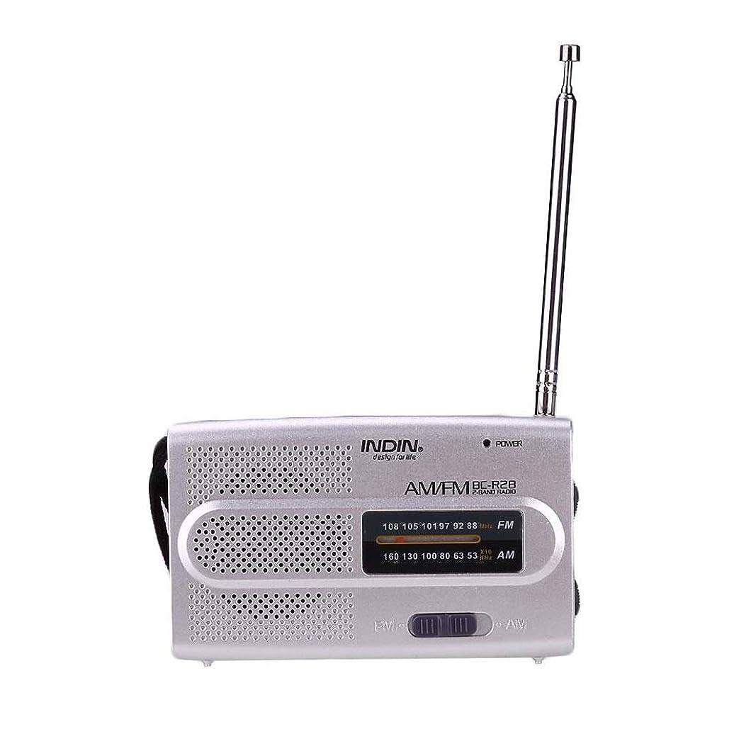 不実バングラデシュ雹AM FMラジオポインタータイプ旧ミニステレオポータブル2バンド放送 (Color : Silver)