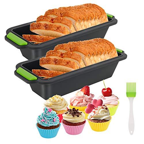 Xinstroe Silikon Brotform, 13 in 1 große Backform Laibform Antihaft-Backform mit 10 Cupcake-Formen und Silikonbürste zum Backen, hitzebeständig bis 230℃,