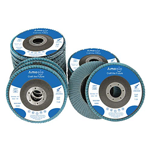amoolo 4 1/2 Flap Disc (20 Pack), T29 Zirconia Angle Grinder Sanding Disc...
