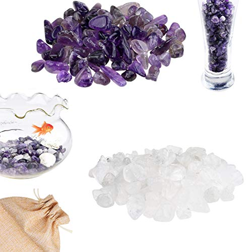 ECO-FUSED Tumbled Chips Stone Crushed Glass Crystal Pieces - Amethyst & Quartz Rock - Irregular Shaped Natural Stones for Arts, Crafts, Jewelry, Decor and More - Aquarium, Plants, Candle Decoration