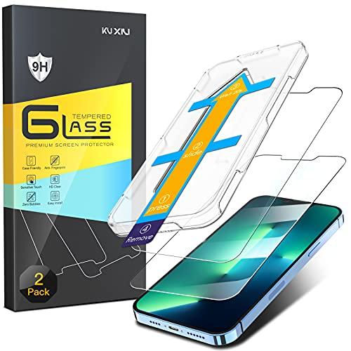 KU XIU [2 Stück] Schutzfolie kompatibel mit iPhone 13 Pro Max Panzerglas 6.7 Zoll, 9H Härte Folie HD Displayschutzfolie [Lebenslange Garantie] [Auto-Ausrichtung] [Anti-Kratzen] [Anti-Bläschen]