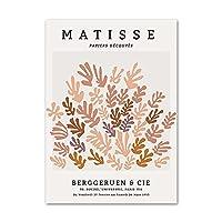 抽象的なポスターマチス絵画ファッションアートプリント珊瑚の葉花キャンバス壁の写真リビングルームの家のモダンな装飾50x70cmx1フレームなし