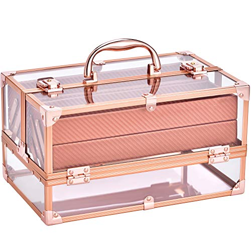 Makeup Box Rose Gold Acrylic Perfect Gift Beauty Cosmetic Box Portable 4 Tier Trays Jewelry Storage Organizer with Lockable for Women and Girls Frenessa
