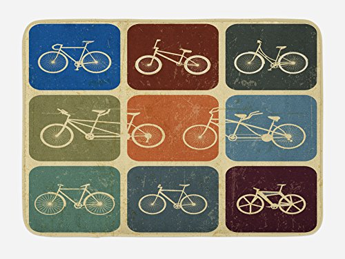 Lunarable Vintage Bath Mat, Retro Image Collage of Bicycle Bikes in a Row with Abstract Pattern Colored Art, Plush Bathroom Decor Mat with Non Slip Backing, 29.5