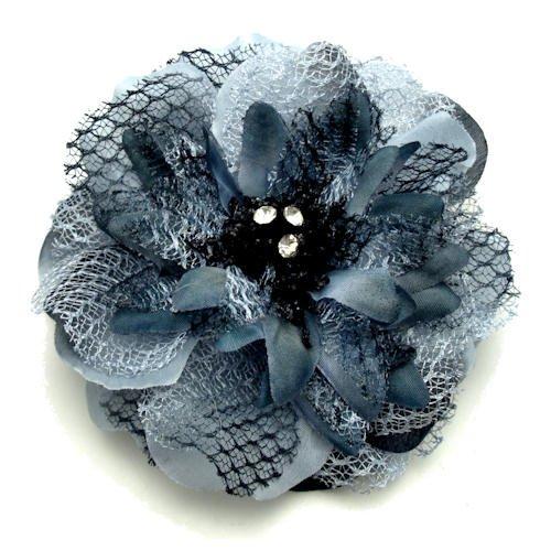 Acosta–Broche con forma de flor, tela y encaje gris y ramillete de cristal, para el pelo/banda elástica, concaja de regalo