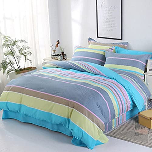 UKKO revestimientos de Cama Simple Jacquard Quilt Cover Bed Sheet Quilt Cover Dormitory Four-Piece Queen Bedding Set Bedding Set with Fitted Sheet