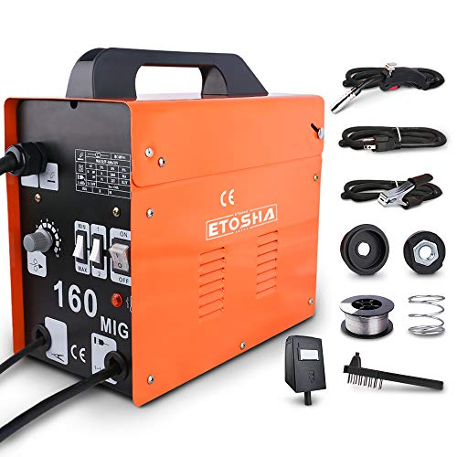 ETOSHA MIG 160 Welder Portable Flux Core Wire Gasless Automatic Wire Feeding Welder,160A ARC Welder Machine with Welding Gun, Grounding Clamp, Input Power Adapter Cable and Brush(Orange)