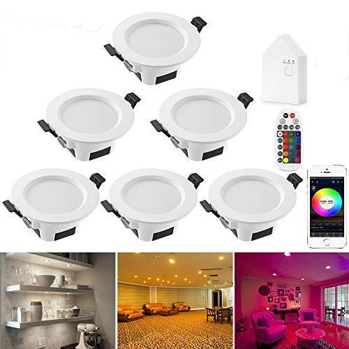 Foco LED empotrable con WiFi, 5 W, RGBW + CCT, 5 en 1, foco regulable, 230 V, con mando a distancia por Bluetooth, BT Mesh Smart Bridge, juego de 6