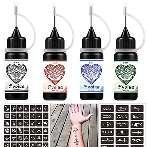 Temporary Tattoos Kit, Permanent Tattoo, 4 Pcs with Three Colors, DIY Tattoos, Full Kit 78 Pcs Adhesive Stencil for Women Kids Men Body Markers - 4 Bottles (Black/Red/Blue/Green)
